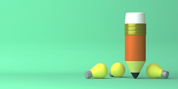 コピースペースを備えたフライングペンシルと分散ランプの3dレンダリングデザイン
