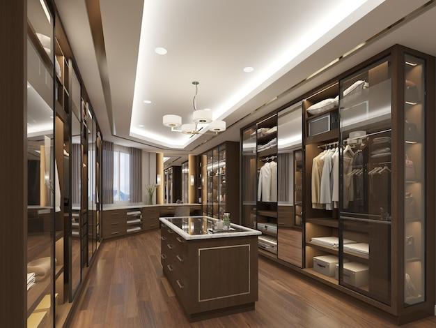 옷장에 luxurios 도보의 3d 렌더링 디자인