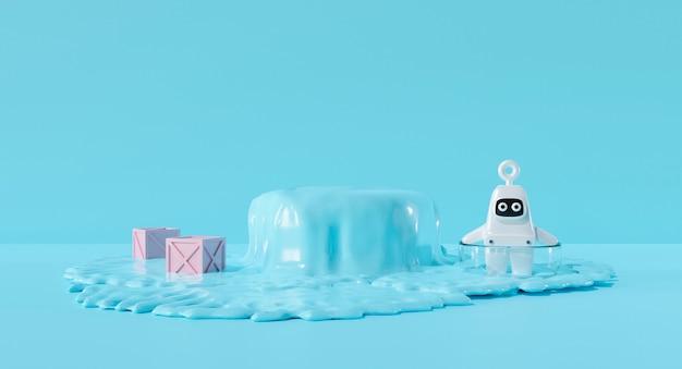 3d render design. pastel cute cartoon astronaut kid and water background.
