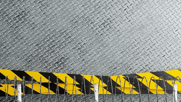 3d render of diamond background with industrial danger lines,barbed wire for product display