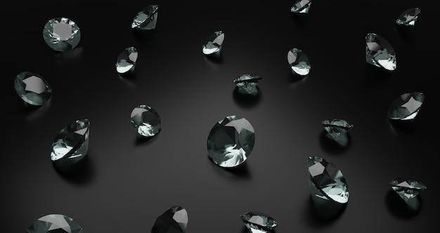 어두운 배경에 흩어져있는 3d 렌더링 다이아몬드