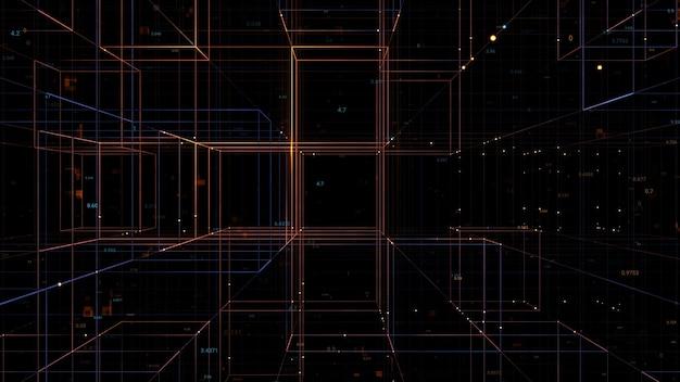 3d визуализация цифровой фон с блочными ячейками и частицами. идеально подходит для фона технологии, презентации.