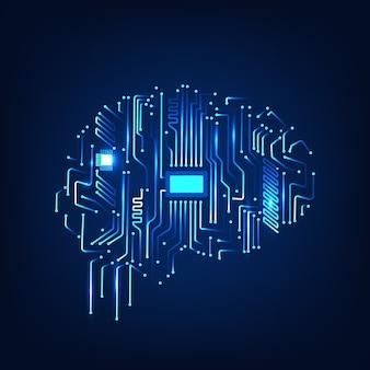 3d render digital human brain with computer circuit board design