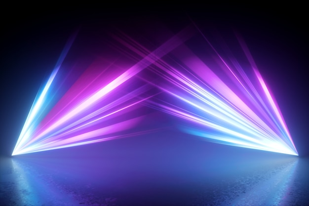 3d render of digital illustration with glowing laser rays