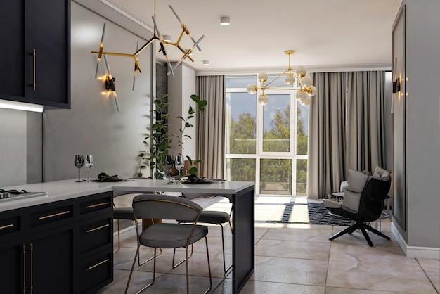 3d render. dining room interior.