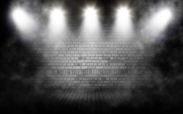 3d render of a display background with grunge smoky room interior with spotlights