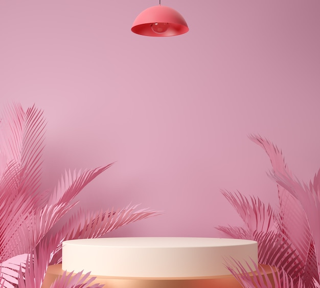 3d 렌더링 디스플레이 또는 쇼케이스, 팜 리프 및 분홍색 배경.