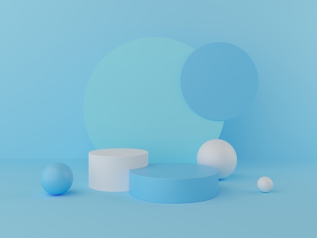 3d render display on pastel color podium and wall for product