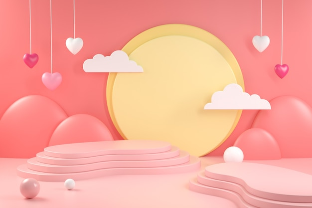 3d render  display valentine scene on soft pink