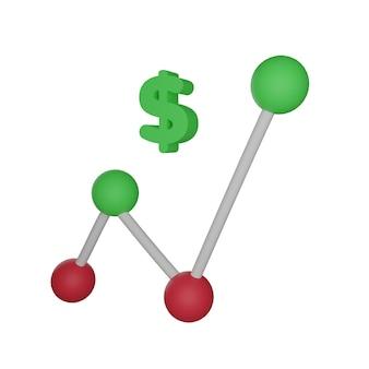 3d визуализация линейная диаграмма увеличения доллара на белом фоне