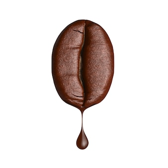 3d render drop of coffee dripping from coffee bean on white background
