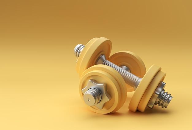 3d визуализации набор гантелей, реалистичные подробные крупным планом вид изолированных спортивный элемент дизайна фитнес-гантели.