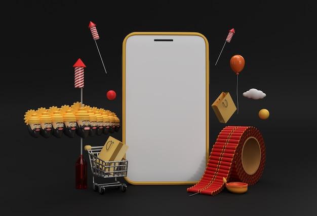 3d render dussehra celebration & diwali минималистичный современный макет смартфона для презентации дисплейная продукция рекламный дизайн.