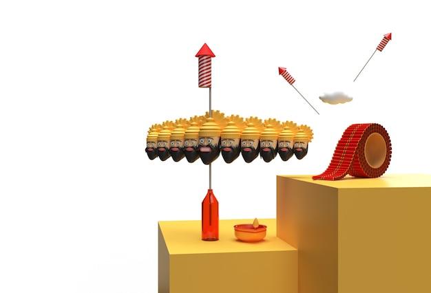 3d render dussehra celebration - инструмент «перо», созданный для обтравочного контура, включен в jpeg easy to composite.