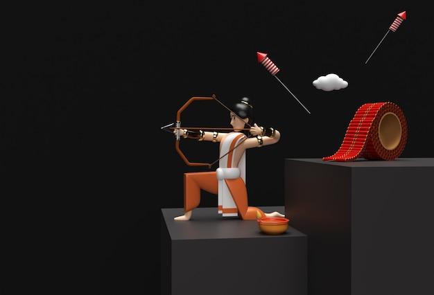 3d визуализация dussehra праздничная сцена минимальной сцены подиума для дизайна рекламы продуктового дисплея.
