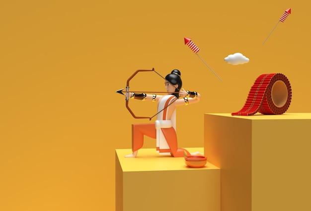 3d визуализация dussehra праздничная сцена минимальной сцены подиума для дизайна рекламы продуктов для показа.