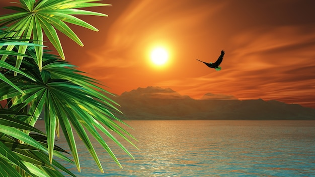 3d render of an eagle flying over the ocean in a tropical landscape