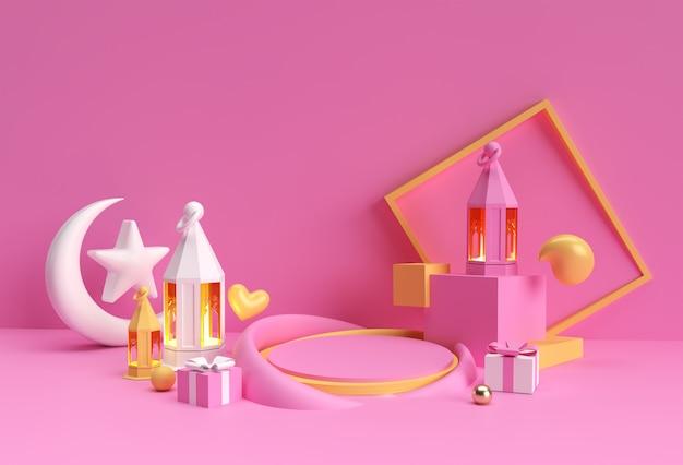 3d-рендеринг празднования ид мубарака со сценой минимального подиума для рекламного дизайна демонстрационной продукции.