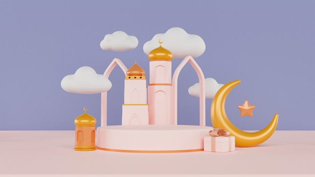 3d render eid murabak with mosque, moon and clouds on half blue and pink background