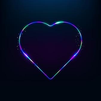 3d визуализация электрический неоновый знак в форме сердца на черном фоне