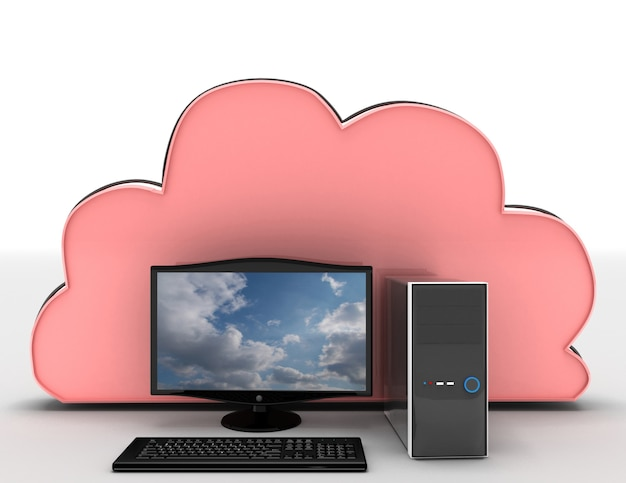 3d render of electronic devices with cloud server. 3d rendered illustration