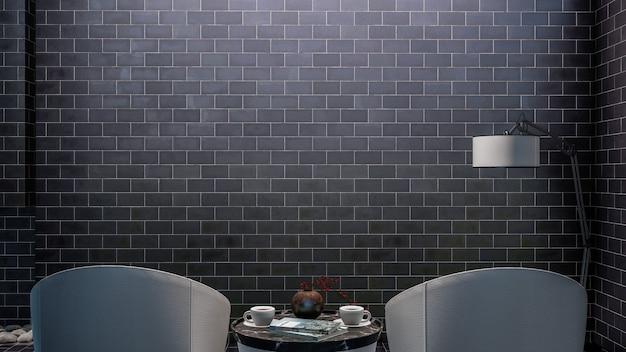 モックアップまたはコピー スペース用の黒いレンガの壁を持つ 3 d レンダリングのエレガントなリビング ルームのインテリア