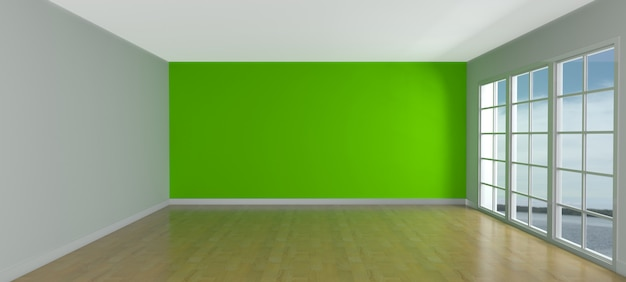 3d render of an empty room with windows