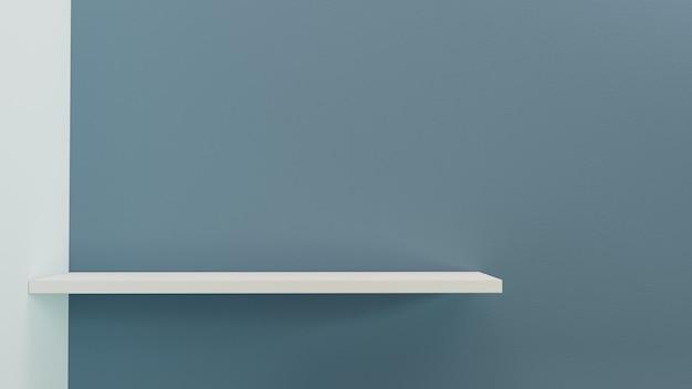 3d render. empty shelf on wall background.