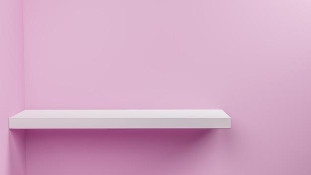 3d render empty shelf on wall .