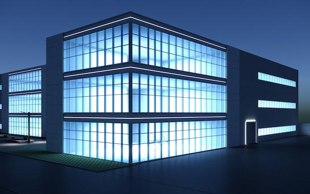 3d визуализация экстерьера торгового центра ночью, визуализация экстерьера, 3д иллюстрация