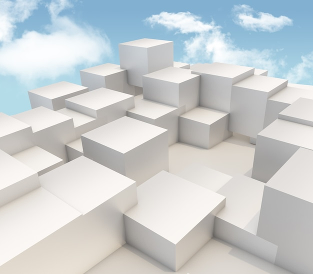3d render of extruding cubes on blue sky background