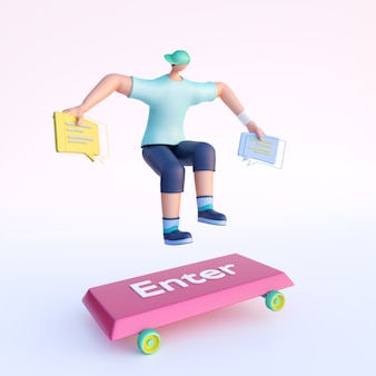 3d render of faceless man holding chatting box in jumping pose to enter skateboard.