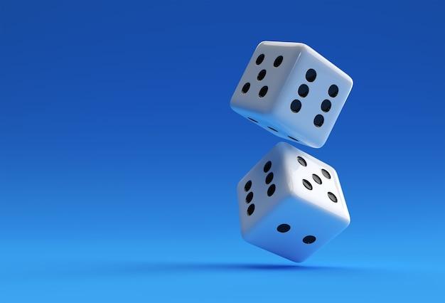 Дизайн иллюстрации значка игральных костей казино 3d визуализации.