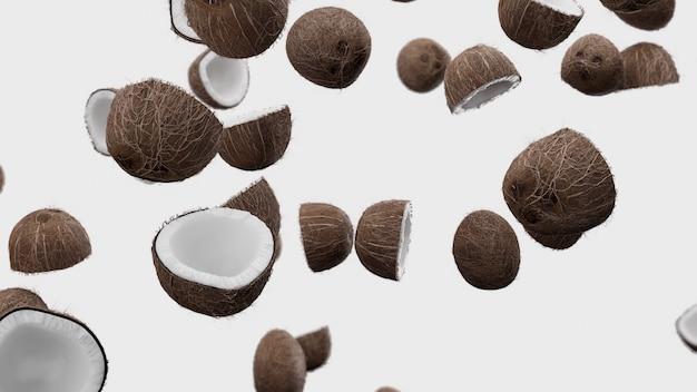 3d render falling coconuts