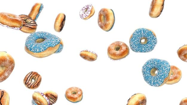 3d 렌더링 흰색 배경에 떨어지는 도넛