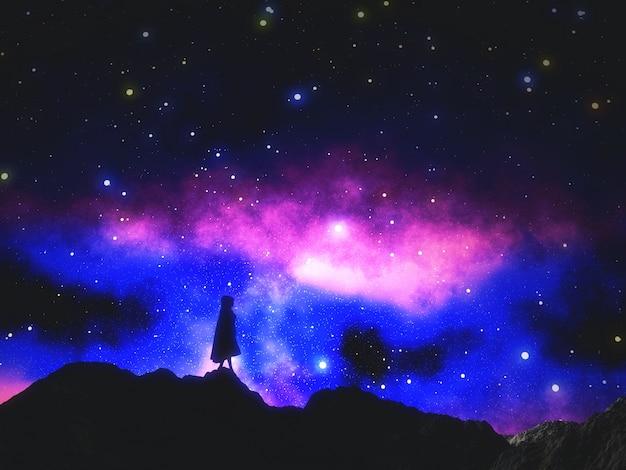3d render of a female in cloak against a space sky