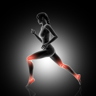 3d render of a female figure jogging with knee and ankle joints highlighted