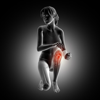 3d render of a female figure kneeling down with knee highlighted
