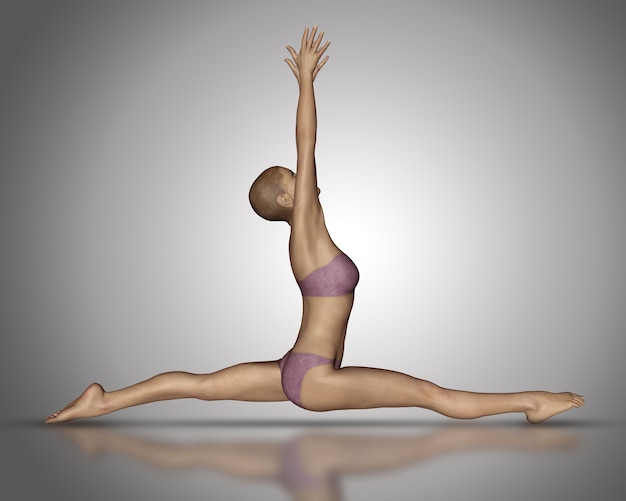 3d render of a female figure in a yoga splits position