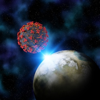 3d render of a fictional space background with the earth and coronal virus cell