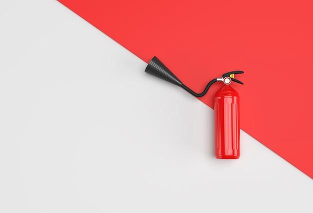 3dレンダリング消火器パステルホワイトの背景。
