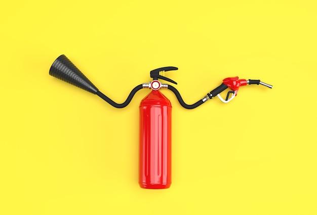 3d визуализации огнетушитель с форсункой топливного насоса пастельных цветов фона.