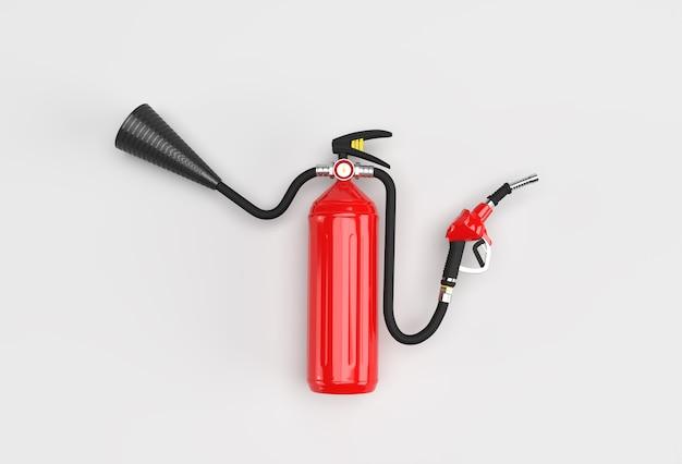 3d render fire extinguisher with fuel pump nozzle pastel color background.