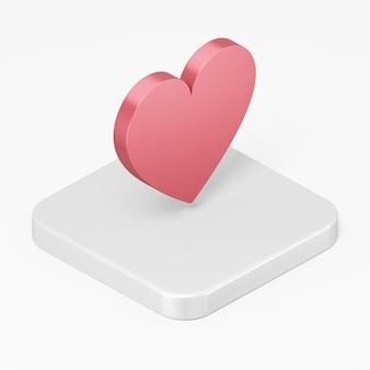 3d 렌더링 흰색 배경에 고립 된 흰색 사각형 버튼 키에 평면 붉은 심장 아이콘