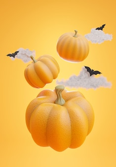 3d render of floating group pumpkin with halloween concept,clouds,bat on orange background