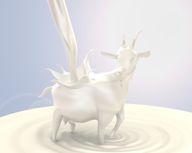 3d render, flowing milk change to a goat shape, concept of strength derived from drink mil