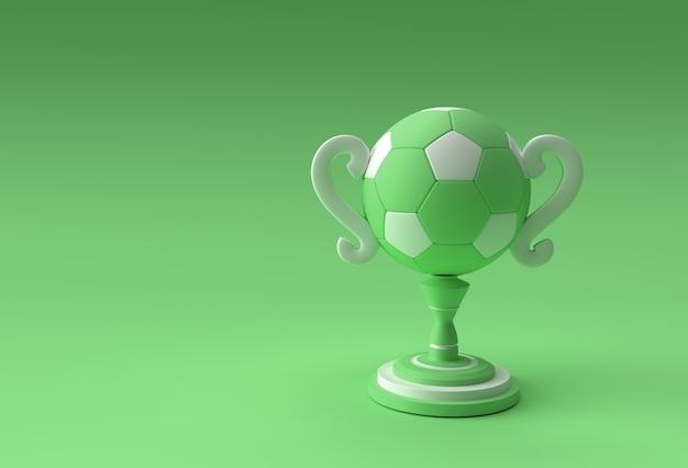 Кубок трофея футбола 3d визуализации изолированный на цветном фоне.