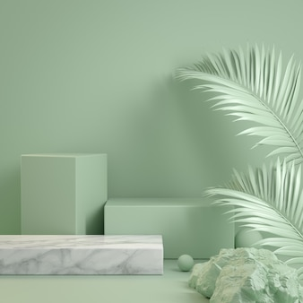 3d render form green mint step podium wild concept