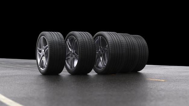3d визуализация четырех автомобильных колес, катящихся на черном фоне
