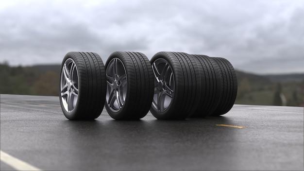 3d визуализация четырех автомобильных колес, катящихся по мокрому асфальту